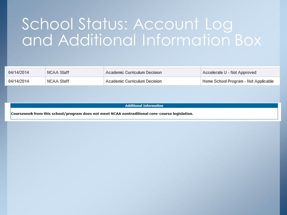 School Status: Account Log and Additional Information Box