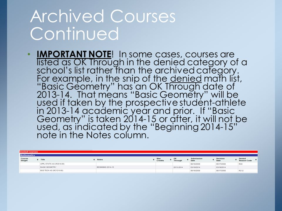IMPORTANT NOTE ! In some cases, courses are listed as OK Through in the denied category of a school's list rather than the archived category. For exam