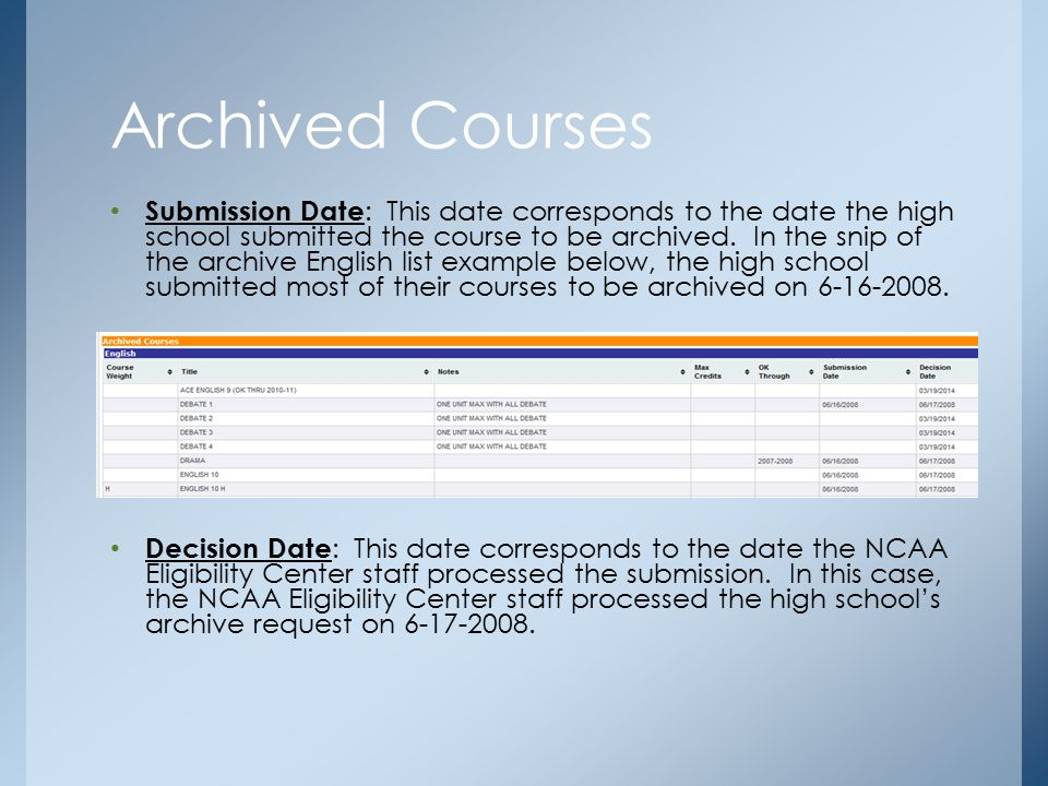 Submission Date : This date corresponds to the date the high school submitted the course to be archived. In the snip of the archive English list examp