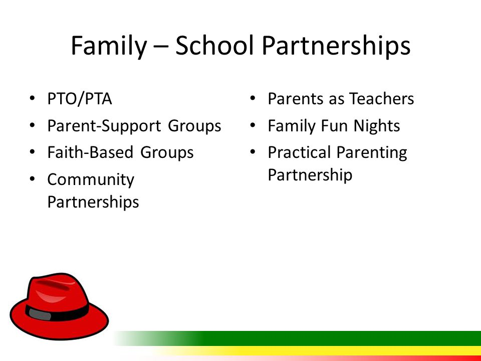 Family – School Partnerships PTO/PTA Parent-Support Groups Faith-Based Groups Community Partnerships Parents as Teachers Family Fun Nights Practical P