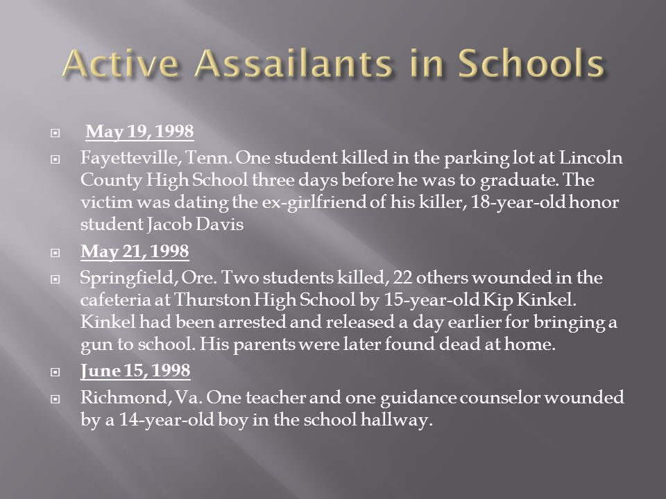  May 19, 1998  Fayetteville, Tenn. One student killed in the parking lot at Lincoln County High School three days before he was to graduate. The vic