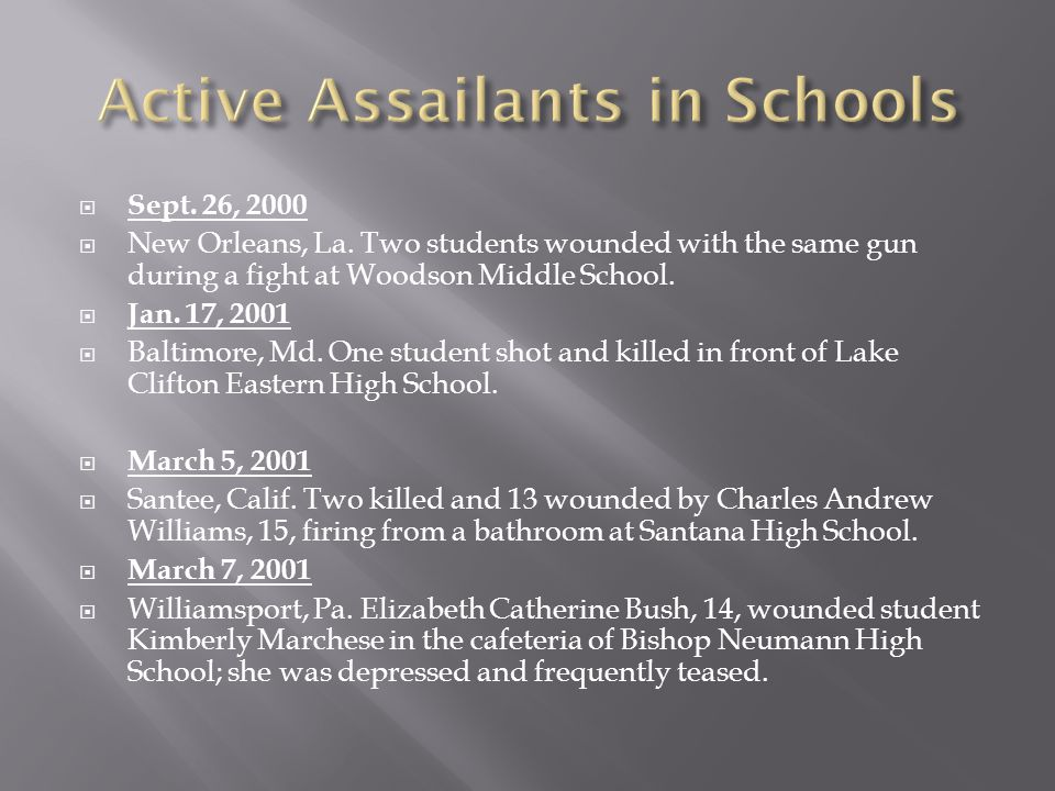  Sept. 26, 2000  New Orleans, La. Two students wounded with the same gun during a fight at Woodson Middle School.  Jan. 17, 2001  Baltimore, Md. O
