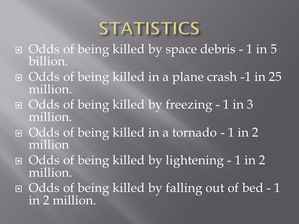  Odds of being killed by space debris - 1 in 5 billion.