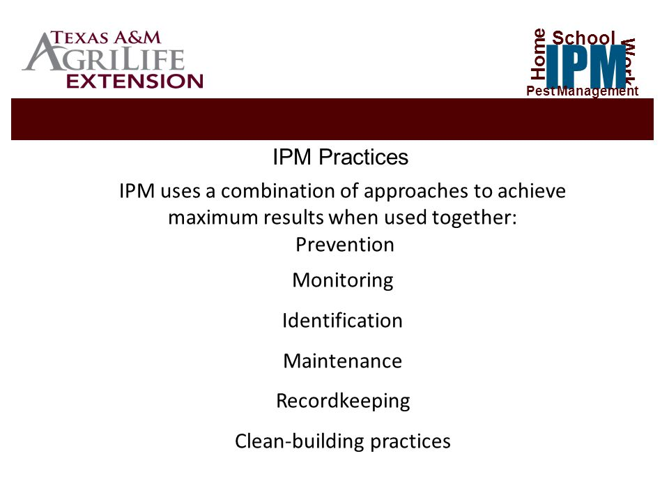 IPM practices reduce exposure to pests and pesticides Two facts support the need for a well managed IPM program: Children play on the floor or the ground then put their fingers in their mouths.
