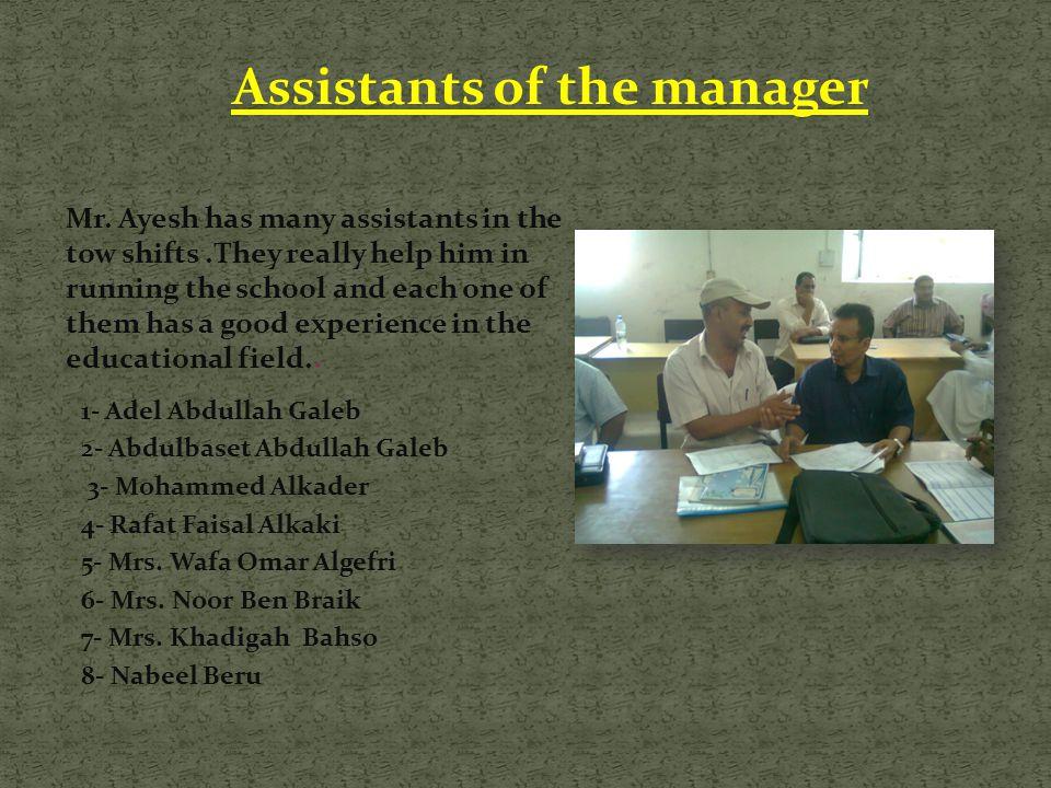 Assistants of the manager 1- Adel Abdullah Galeb 2- Abdulbaset Abdullah Galeb 3- Mohammed Alkader 4- Rafat Faisal Alkaki 5- Mrs. Wafa Omar Algefri 6-