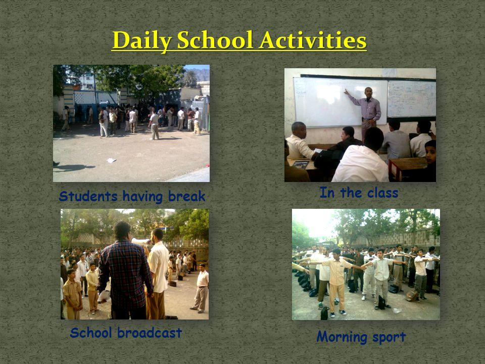 Daily School Activities Students having break In the class Morning sport School broadcast
