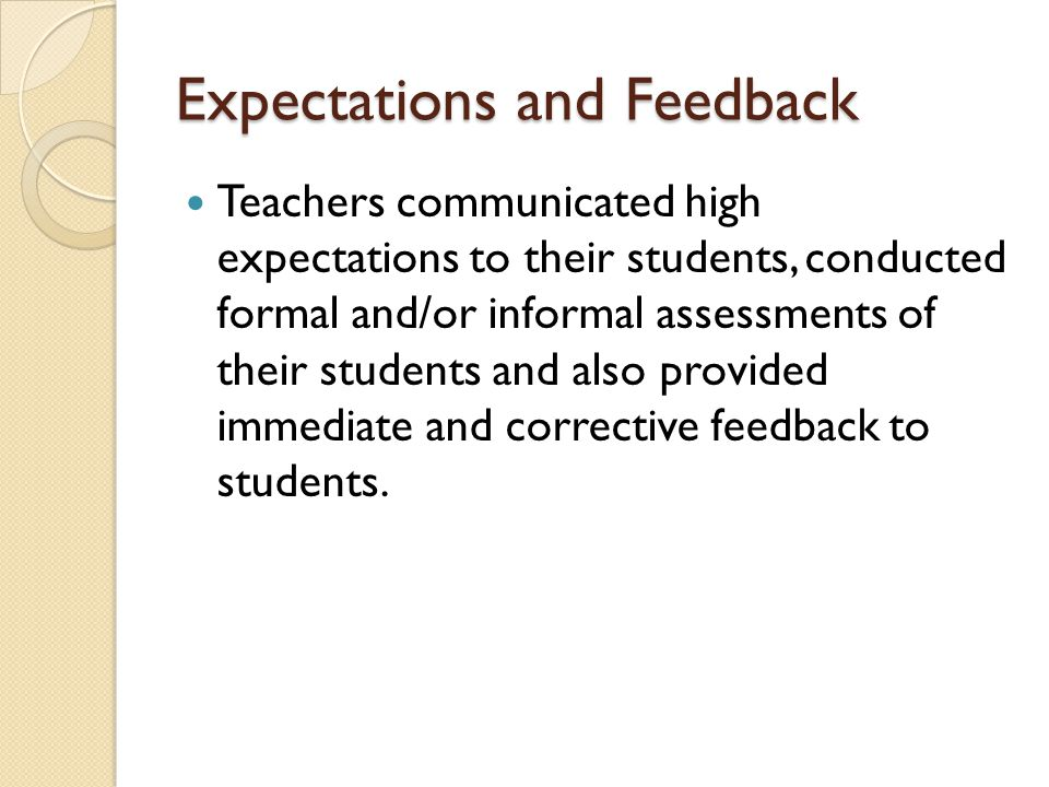 Expectations and Feedback Teachers communicated high expectations to their students, conducted formal and/or informal assessments of their students an