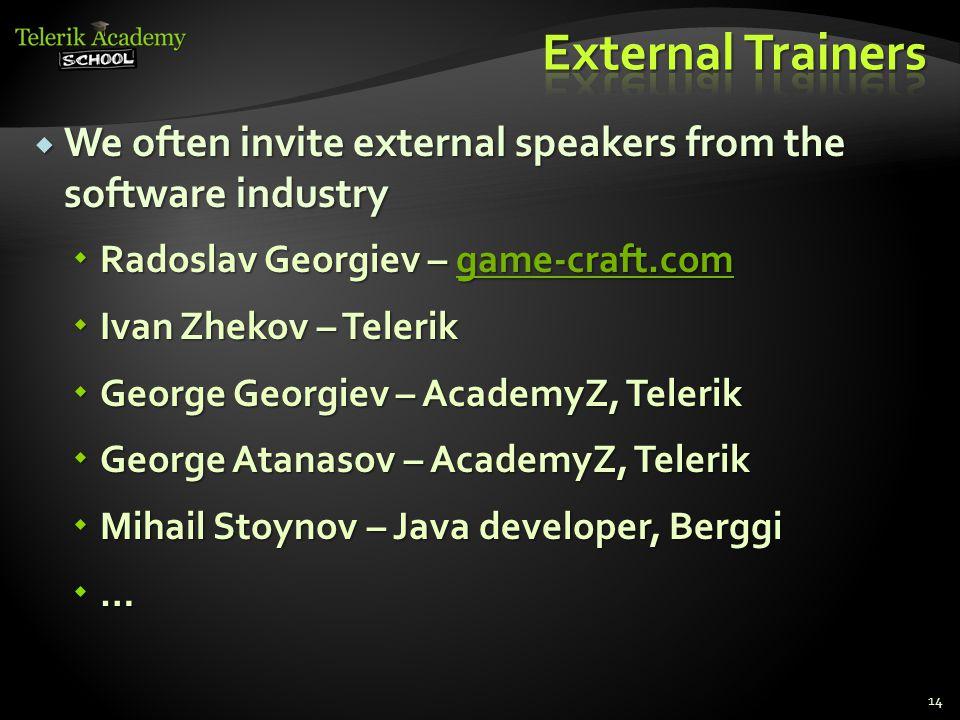  We often invite external speakers from the software industry  Radoslav Georgiev – game-craft.com game-craft.com  Ivan Zhekov – Telerik  George Ge