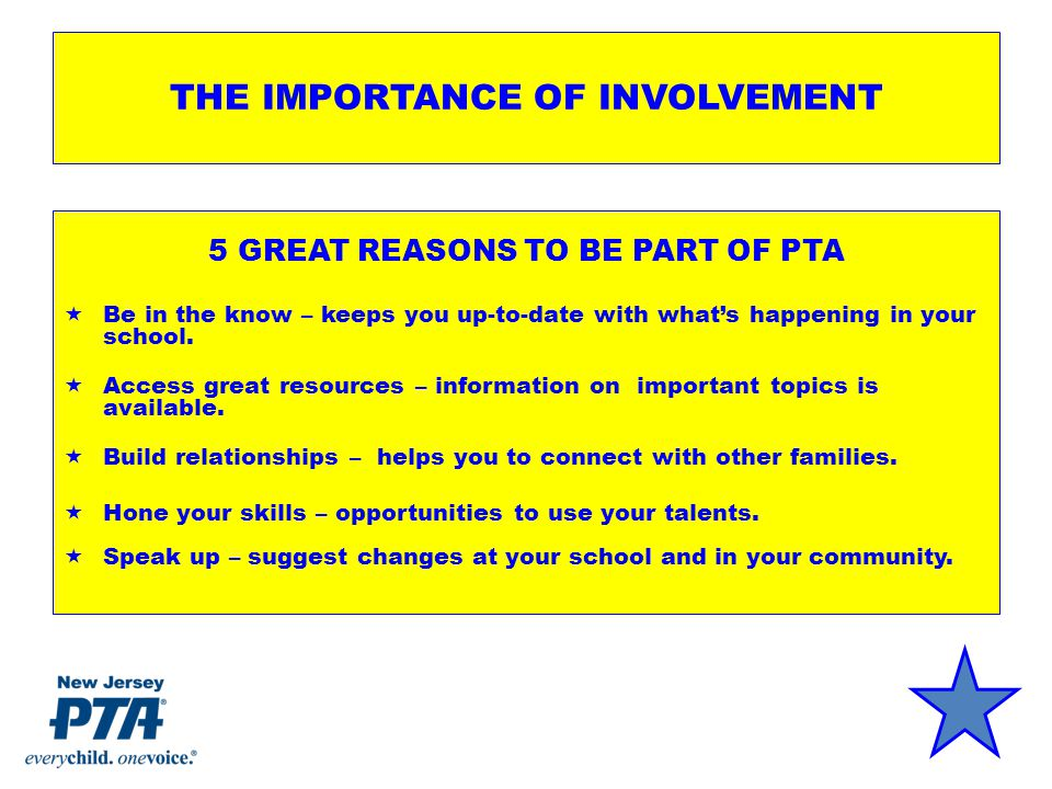 THE IMPORTANCE OF INVOLVEMENT 5 GREAT REASONS TO BE PART OF PTA  Be in the know – keeps you up-to-date with what's happening in your school.
