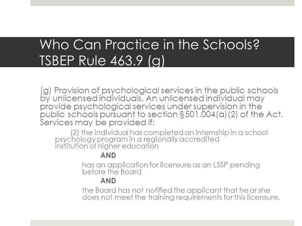 Who Can Practice in the Schools.