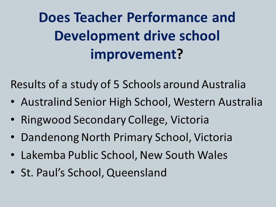 Does Teacher Performance and Development drive school improvement.