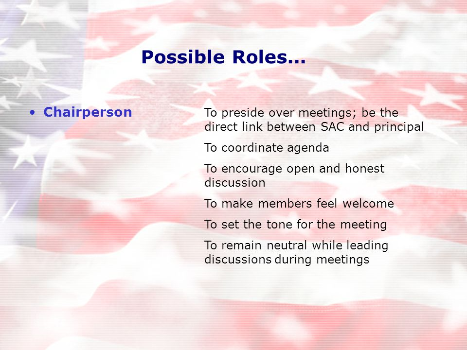 Possible Roles...