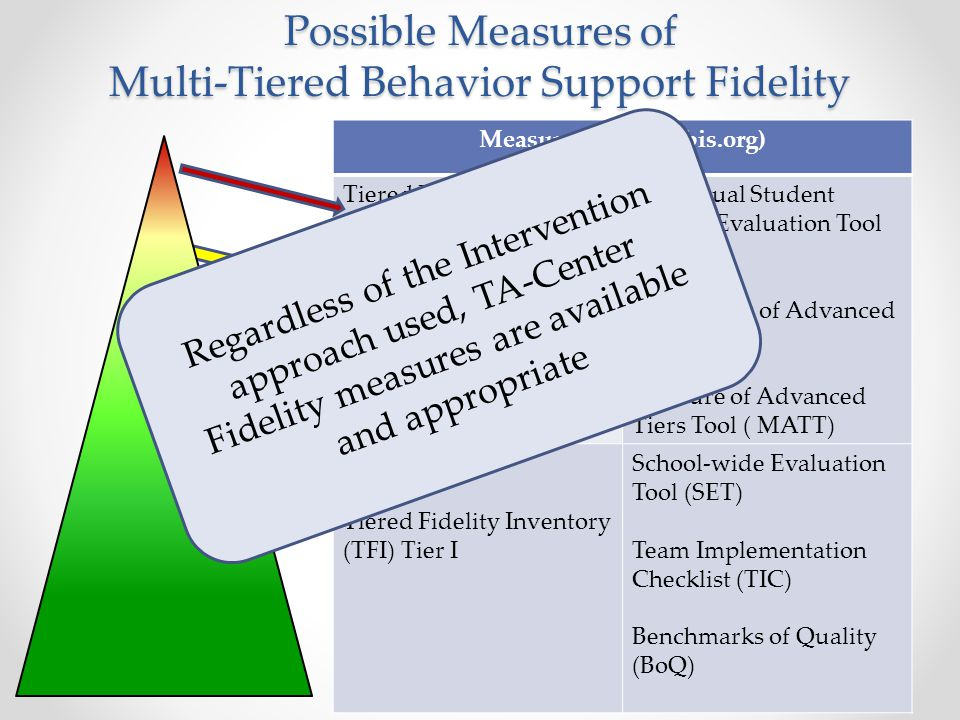 Possible Measures of Multi-Tiered Behavior Support Fidelity Measures (www.pbis.org) Tiered Fidelity Inventory (TFI) Tier III Individual Student System