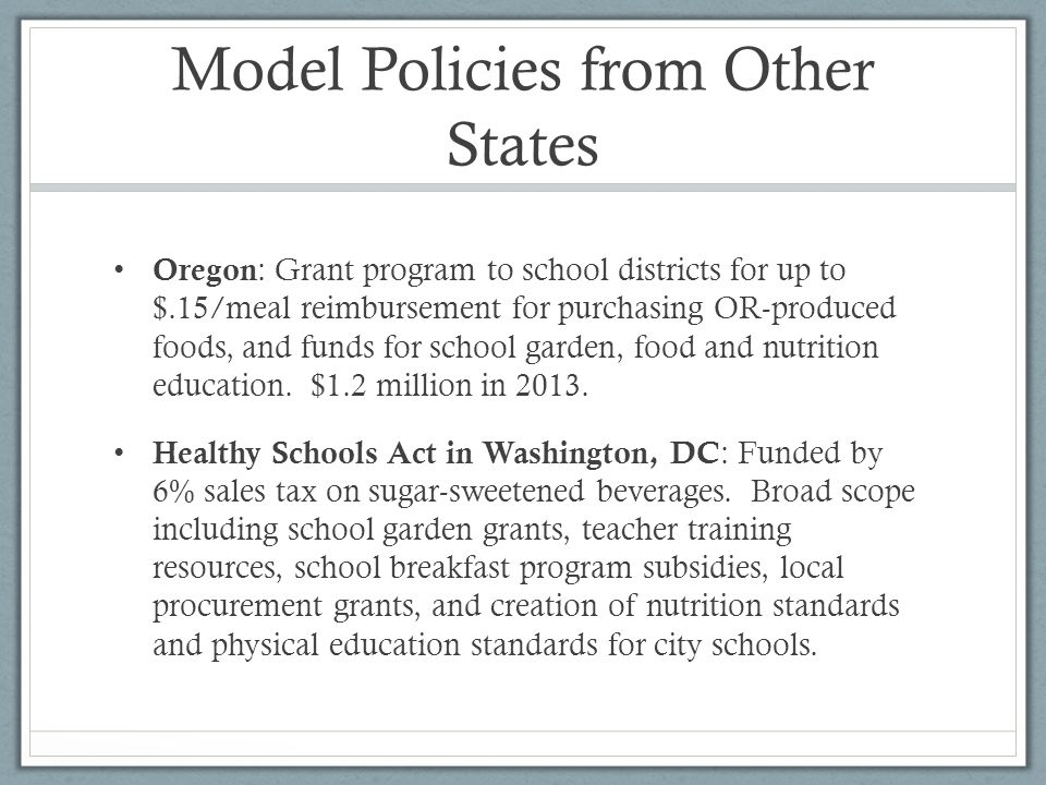 Model Policies from Other States, Cont.