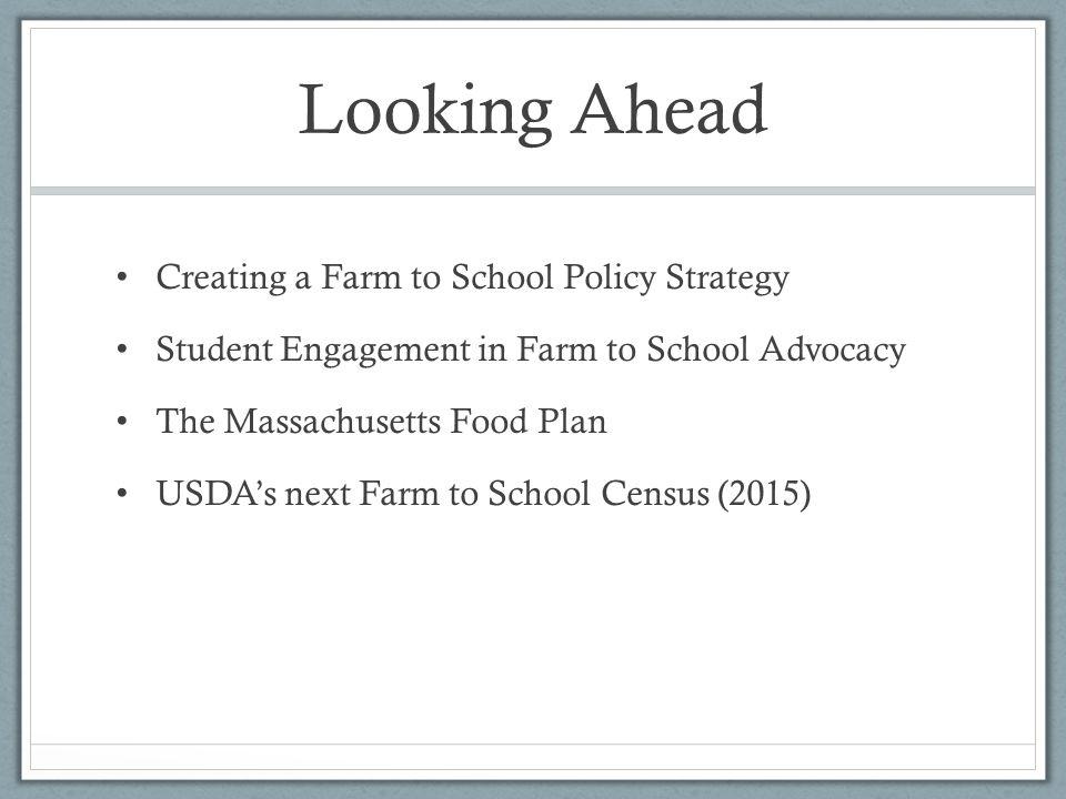 Resources National Farm to School Network - State Farm to School Legislative Survey: 2002-2013 http://www.farmtoschool.org/resources-main/statelegisativesurvey Massachusetts Food Plan: http://www.mapc.org/mafoodplan Atty.