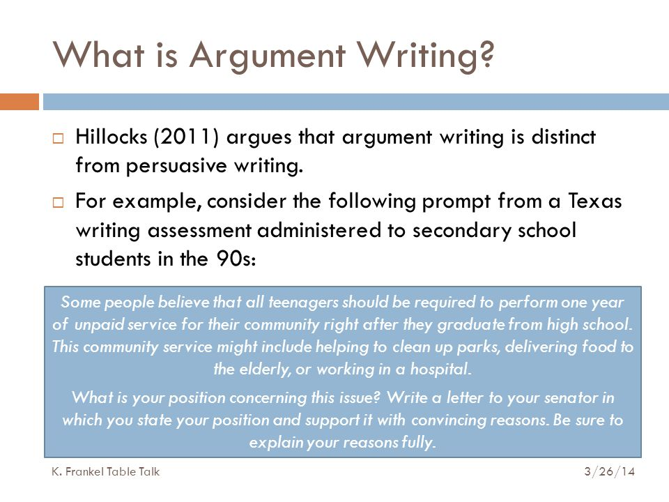 What is Argument Writing.
