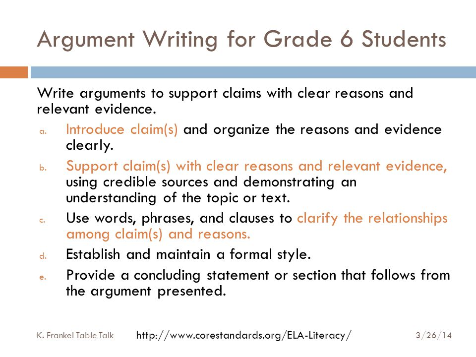 Argument Writing for Grade 6 Students Write arguments to support claims with clear reasons and relevant evidence.