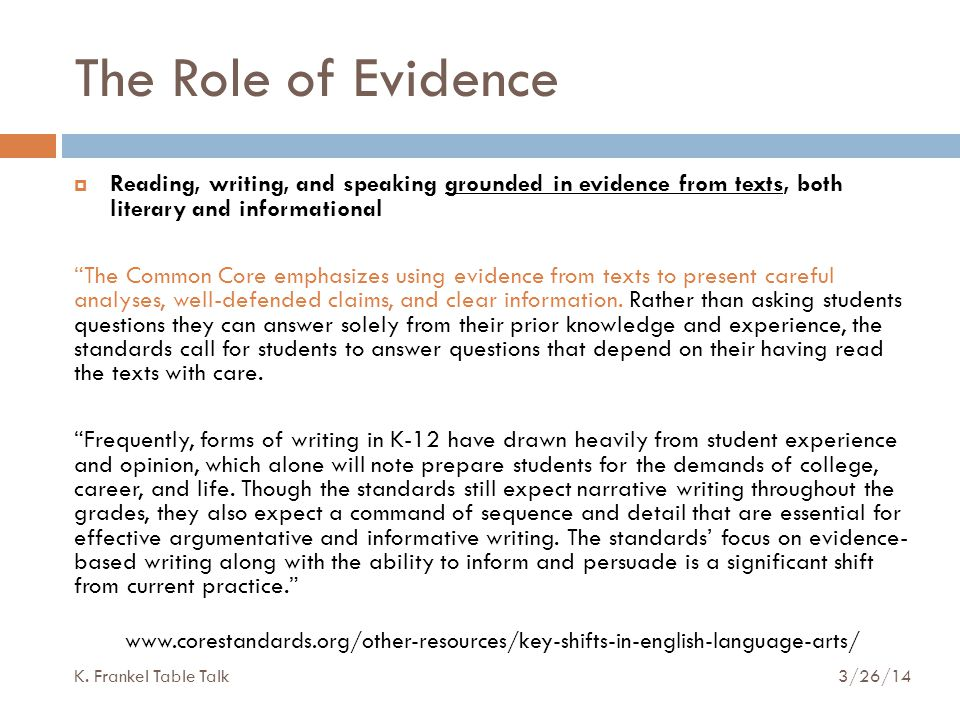 The Role of Evidence  Reading, writing, and speaking grounded in evidence from texts, both literary and informational The Common Core emphasizes using evidence from texts to present careful analyses, well-defended claims, and clear information.