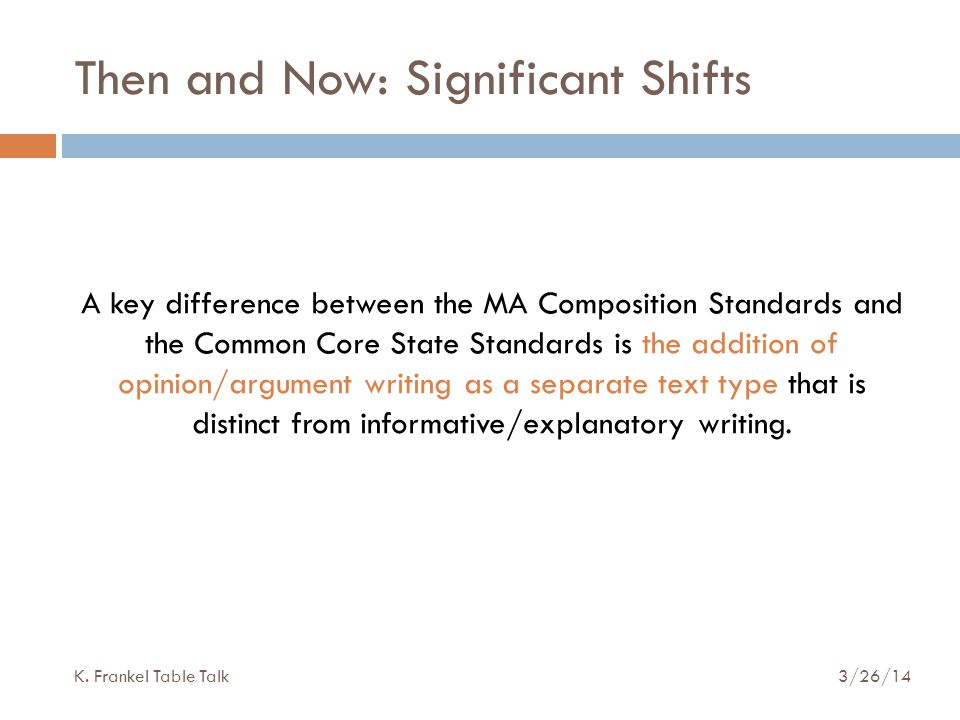 Then and Now: Significant Shifts A key difference between the MA Composition Standards and the Common Core State Standards is the addition of opinion/argument writing as a separate text type that is distinct from informative/explanatory writing.