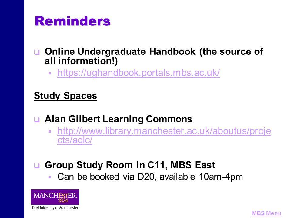 MBS MenuReminders   Online Undergraduate Handbook (the source of all information!)   https://ughandbook.portals.mbs.ac.uk/ https://ughandbook.port