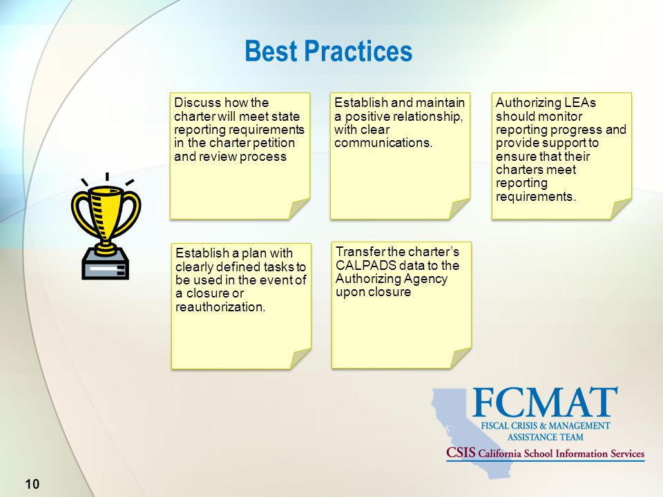 Best Practices 10 Discuss how the charter will meet state reporting requirements in the charter petition and review process Establish and maintain a p