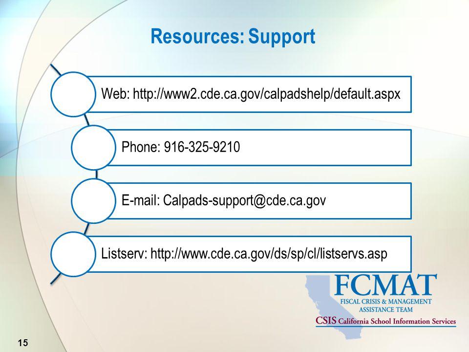 Resources: Support 15 Web: http://www2.cde.ca.gov/calpadshelp/default.aspx Phone: 916-325-9210 E-mail: Calpads-support@cde.ca.gov Listserv: http://www.cde.ca.gov/ds/sp/cl/listservs.asp