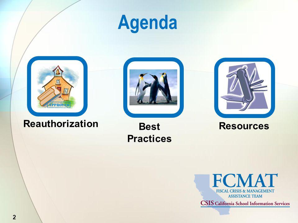Agenda 2 Resources Reauthorization Best Practices