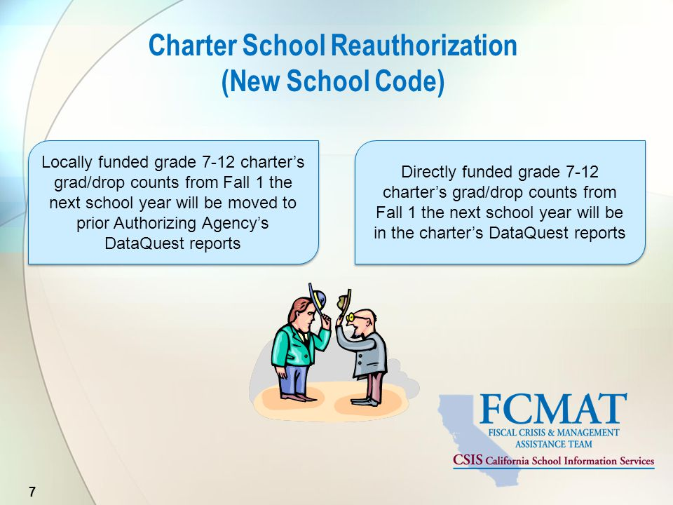 Charter School Reauthorization (New School Code) 7 Locally funded grade 7-12 charter's grad/drop counts from Fall 1 the next school year will be moved to prior Authorizing Agency's DataQuest reports Directly funded grade 7-12 charter's grad/drop counts from Fall 1 the next school year will be in the charter's DataQuest reports