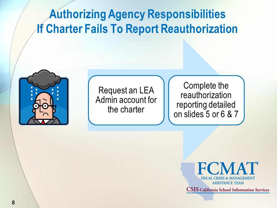 Authorizing Agency Responsibilities If Charter Fails To Report Reauthorization 8 Request an LEA Admin account for the charter Complete the reauthorization reporting detailed on slides 5 or 6 & 7
