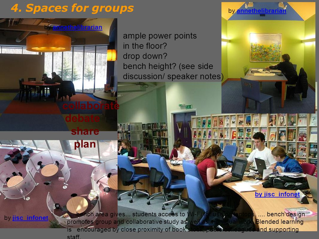 4. Spaces for groups by annethelibrarianannethelibrarian ample power points in the floor.