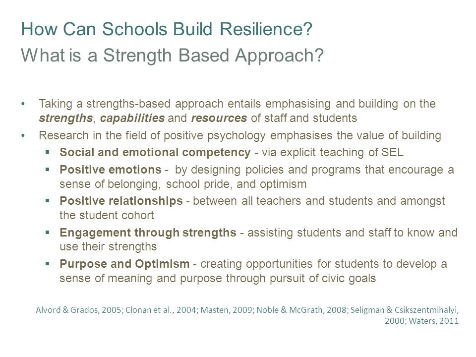 How Can Schools Build Resilience? What is a Strength Based Approach? Taking a strengths-based approach entails emphasising and building on the strengt
