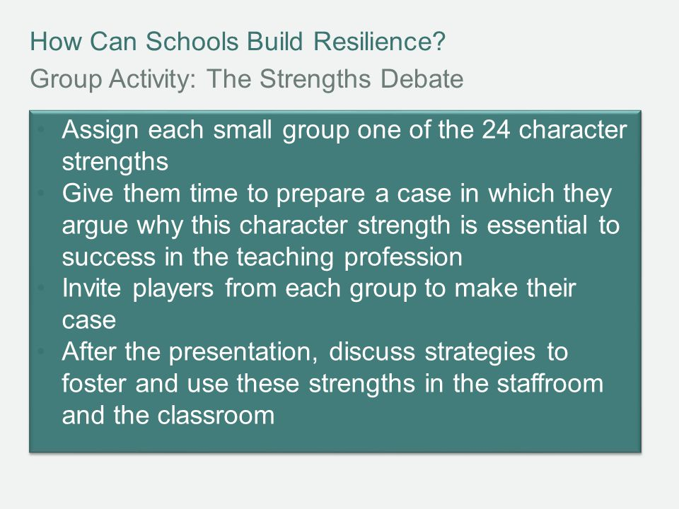 How Can Schools Build Resilience.REFLECT How can I investigate my own character strengths.