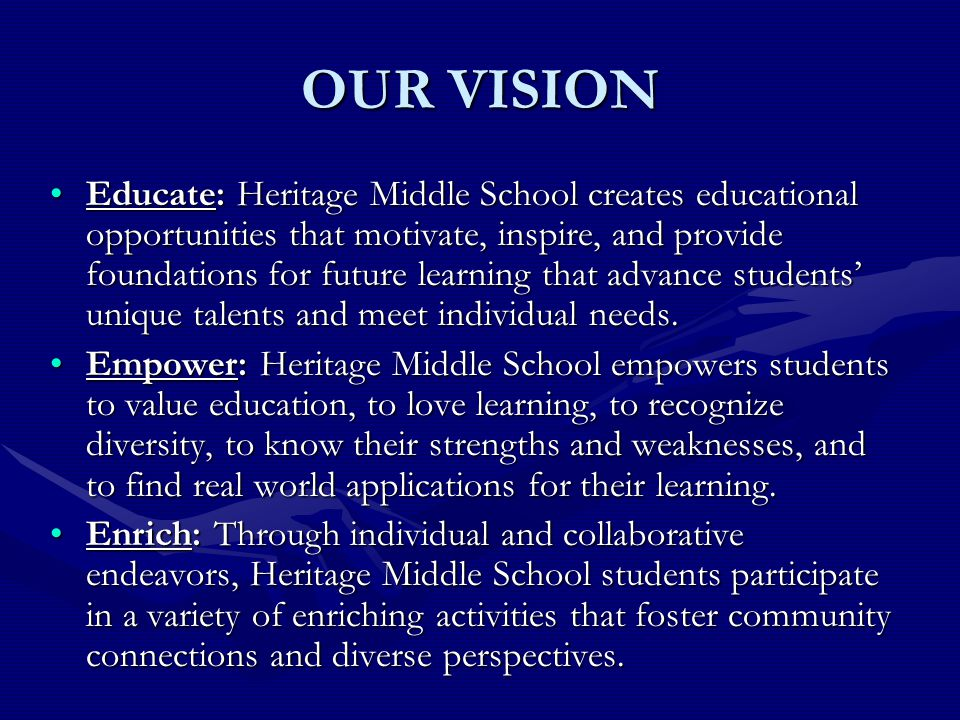 OUR VISION Educate: Heritage Middle School creates educational opportunities that motivate, inspire, and provide foundations for future learning that
