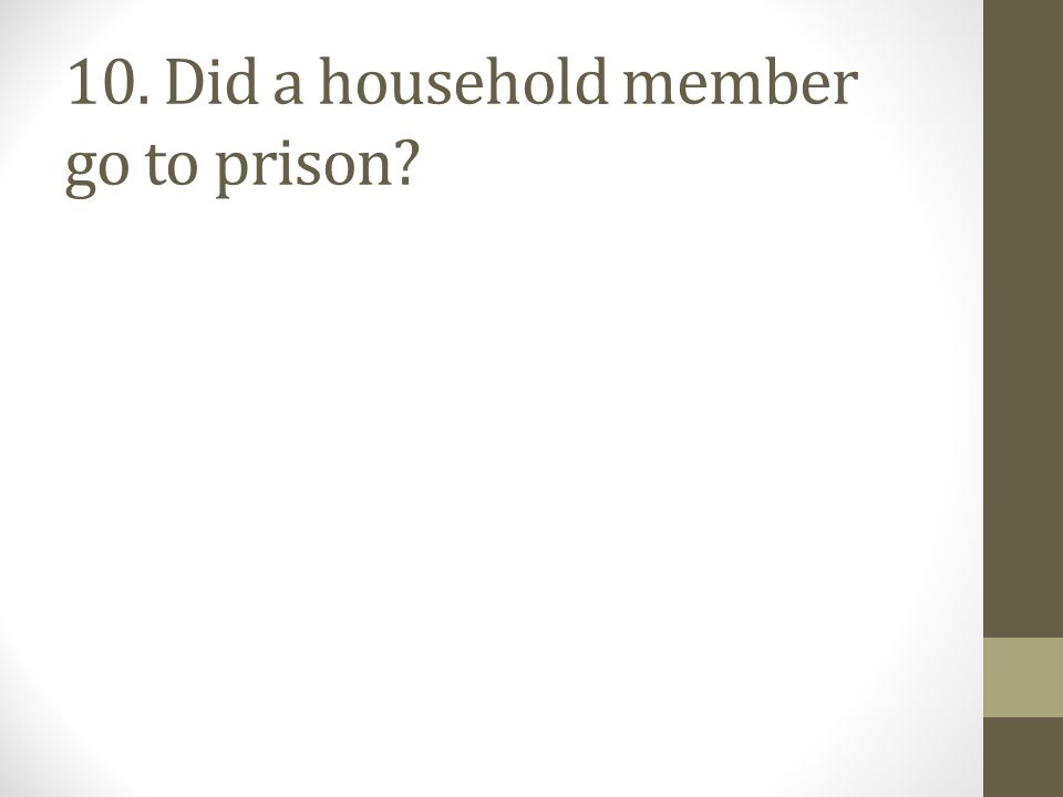 10. Did a household member go to prison?