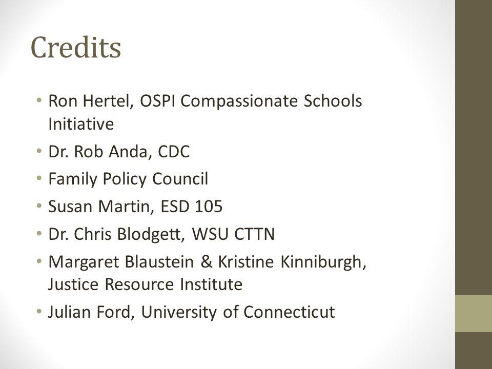Credits Ron Hertel, OSPI Compassionate Schools Initiative Dr.