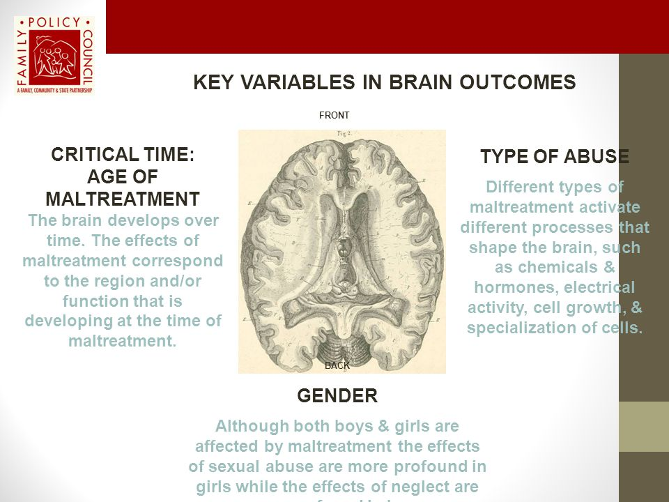 KEY VARIABLES IN BRAIN OUTCOMES GENDER Although both boys & girls are affected by maltreatment the effects of sexual abuse are more profound in girls while the effects of neglect are more profound in boys.