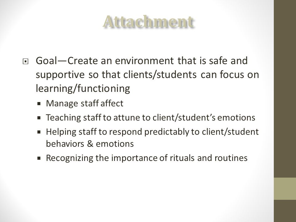  Goal—Create an environment that is safe and supportive so that clients/students can focus on learning/functioning  Manage staff affect  Teaching staff to attune to client/student's emotions  Helping staff to respond predictably to client/student behaviors & emotions  Recognizing the importance of rituals and routines