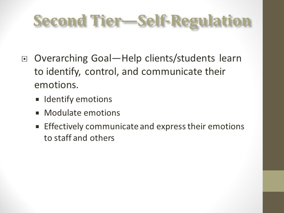 Second Tier—Self-Regulation  Overarching Goal—Help clients/students learn to identify, control, and communicate their emotions.