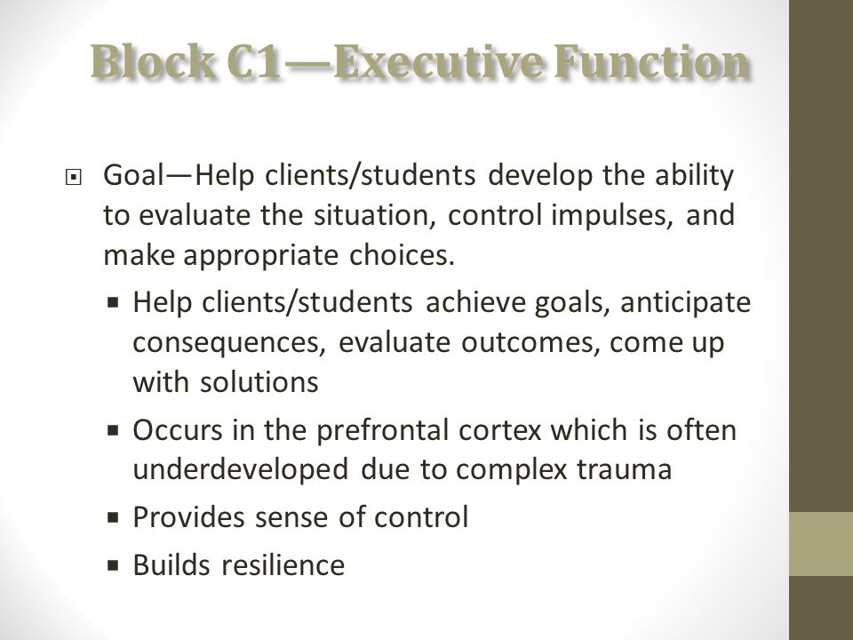 Block C1—Executive Function  Goal—Help clients/students develop the ability to evaluate the situation, control impulses, and make appropriate choices.