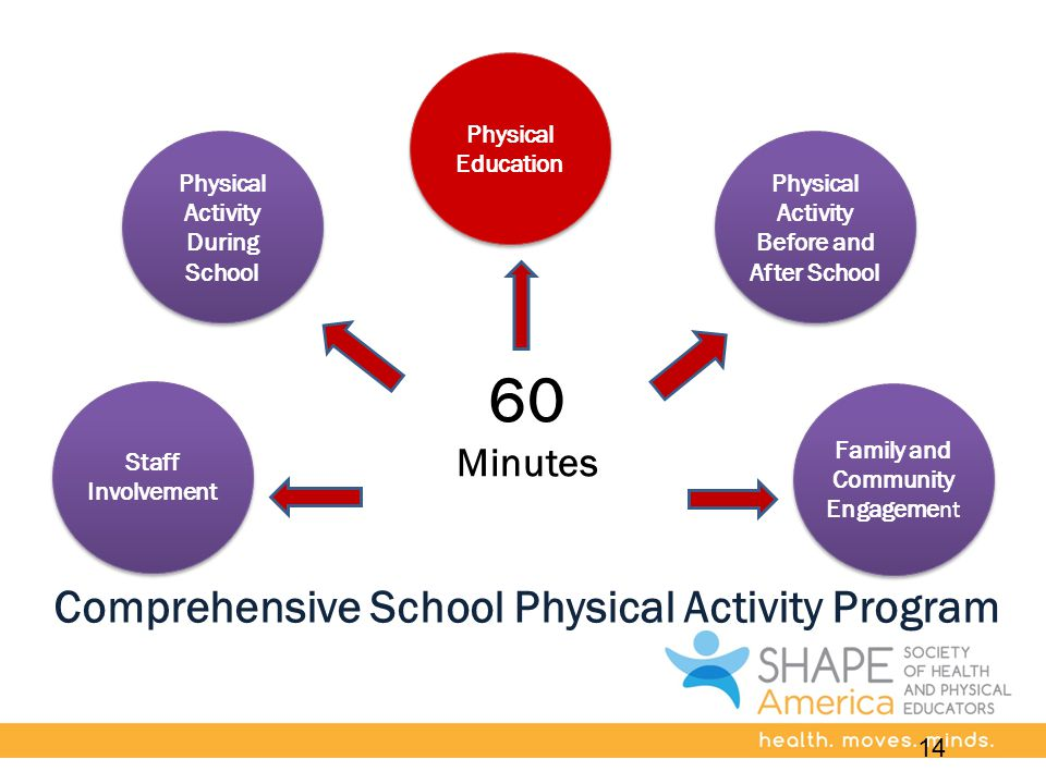 Comprehensive School Physical Activity Program Staff Involvement Physical Activity During School Physical Education Physical Activity Before and After School Family and Community Engageme nt 60 Minutes 14