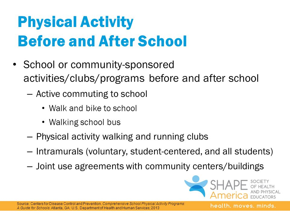 Physical Activity Before and After School School or community-sponsored activities/clubs/programs before and after school – Active commuting to school Walk and bike to school Walking school bus – Physical activity walking and running clubs – Intramurals (voluntary, student-centered, and all students) – Joint use agreements with community centers/buildings Source: Centers for Disease Control and Prevention.