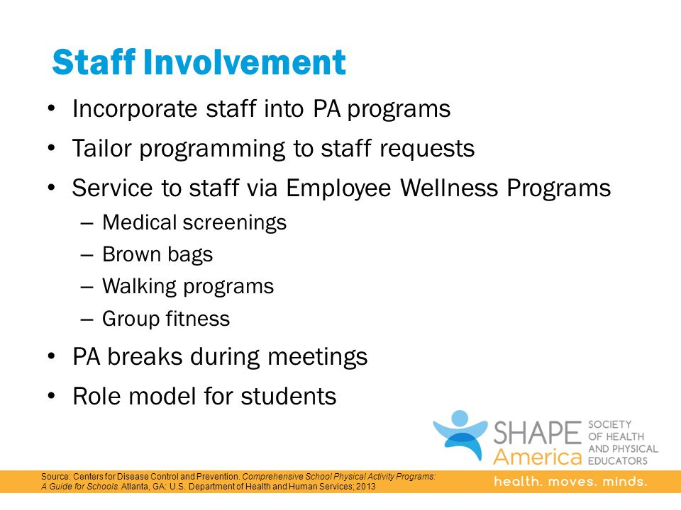 Staff Involvement Incorporate staff into PA programs Tailor programming to staff requests Service to staff via Employee Wellness Programs – Medical screenings – Brown bags – Walking programs – Group fitness PA breaks during meetings Role model for students Source: Centers for Disease Control and Prevention.