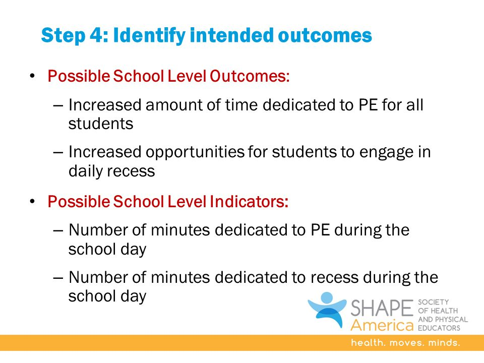 Step 4: Identify intended outcomes Possible School Level Outcomes: – Increased amount of time dedicated to PE for all students – Increased opportunities for students to engage in daily recess Possible School Level Indicators: – Number of minutes dedicated to PE during the school day – Number of minutes dedicated to recess during the school day