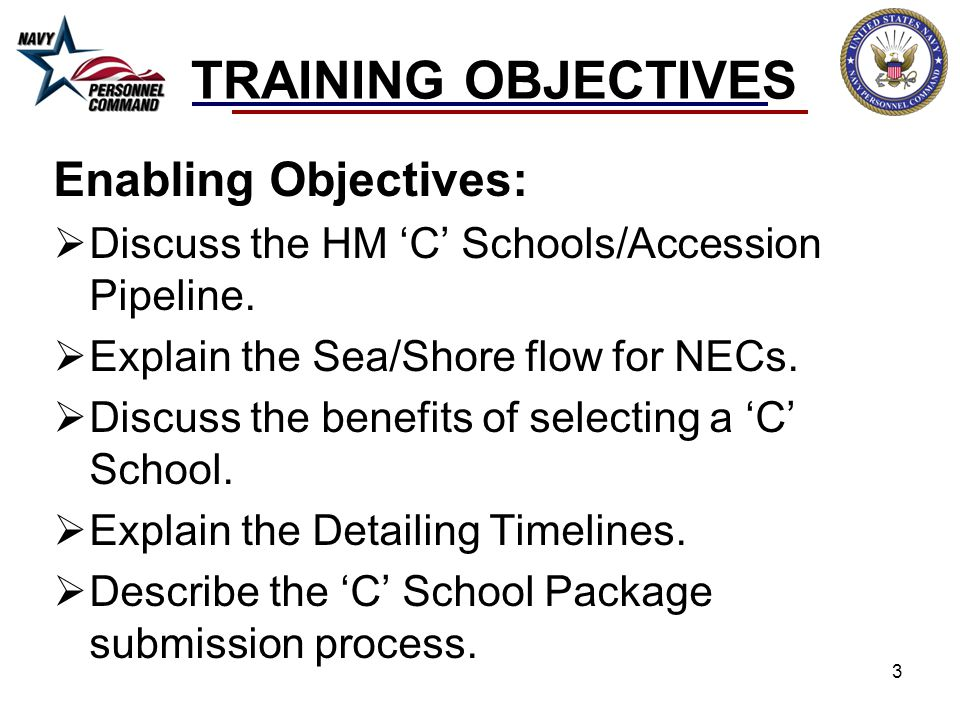 TRAINING OBJECTIVES Enabling Objectives:  Discuss the HM 'C' Schools/Accession Pipeline.