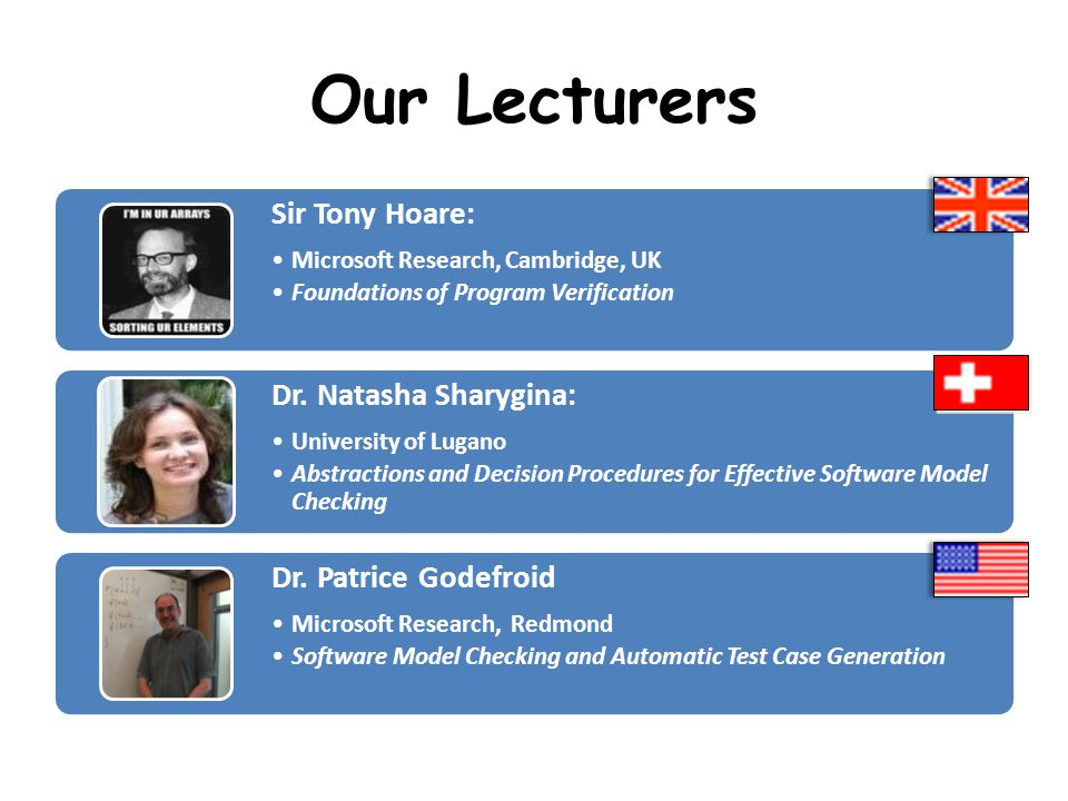 Our Lecturers Sir Tony Hoare: Microsoft Research, Cambridge, UK Foundations of Program Verification Dr. Natasha Sharygina: University of Lugano Abstra