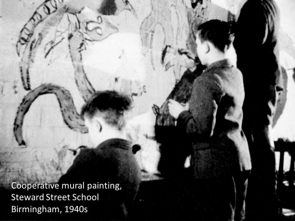 Cooperative mural painting, Steward Street School Birmingham, 1940s