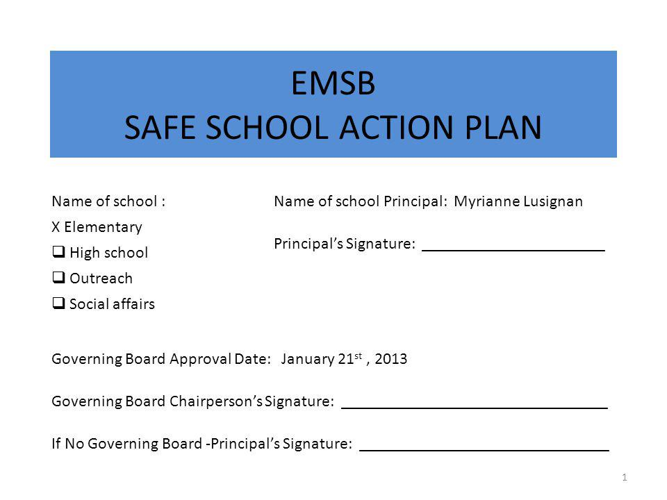 STEP 1 Identify members of your Safe School Action Team and designated Team Leader.