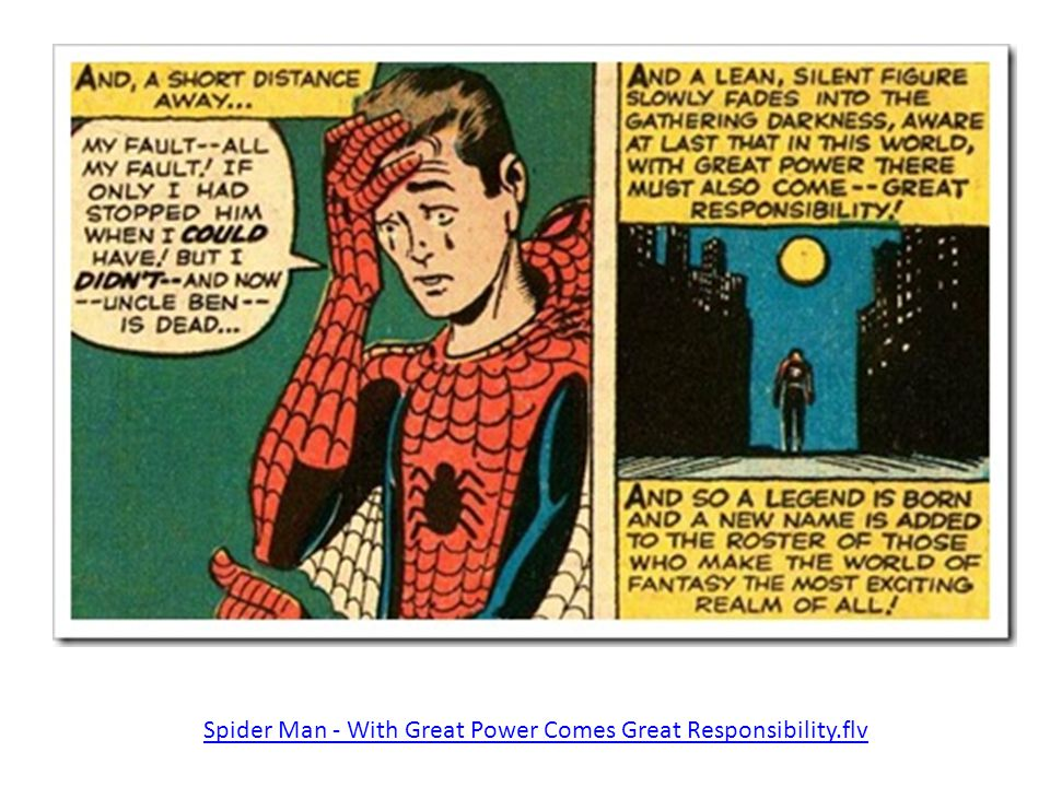 With GREAT POWER comes GREAT RESPONSIBILITY... Spider Man - With Great Power Comes Great Responsibility.flv