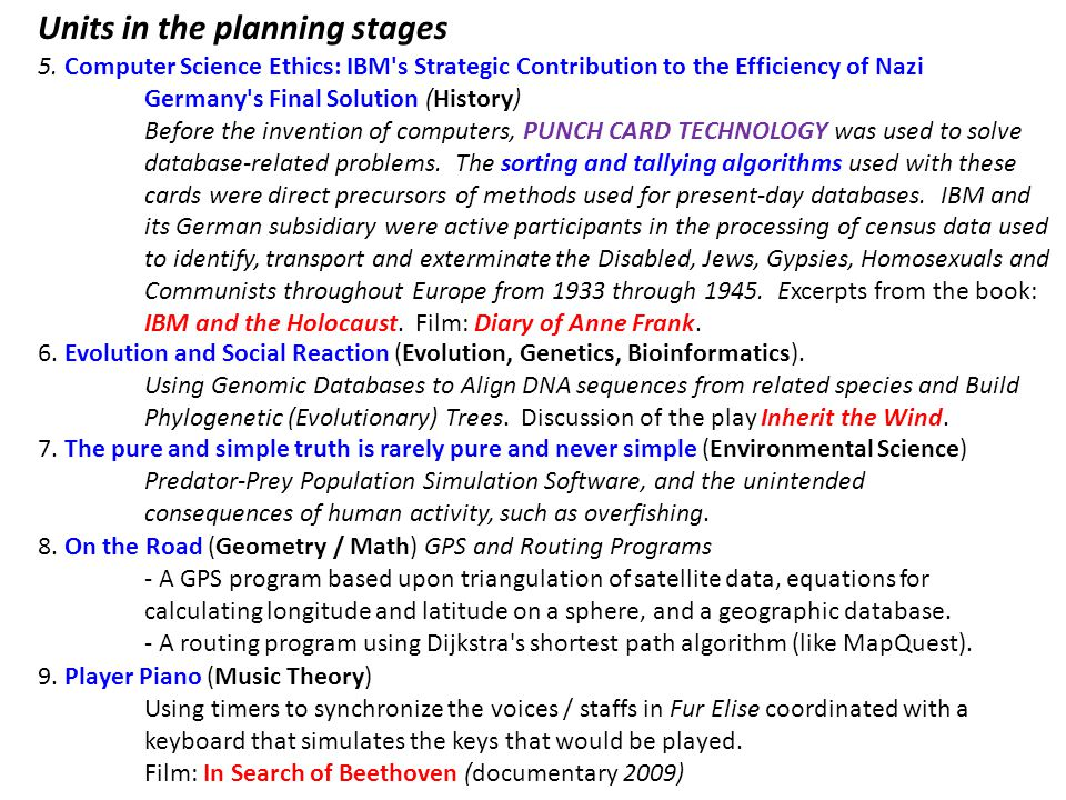 5. Computer Science Ethics: IBM's Strategic Contribution to the Efficiency of Nazi Germany's Final Solution (History) Before the invention of computer