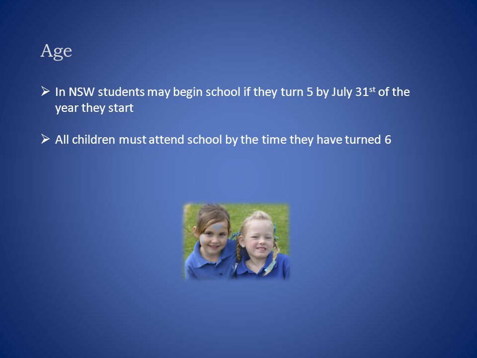 Age  In NSW students may begin school if they turn 5 by July 31 st of the year they start  All children must attend school by the time they have tur